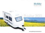 Hobby Caravans prijslijst 2011 - Gelderse Caravan Centrale