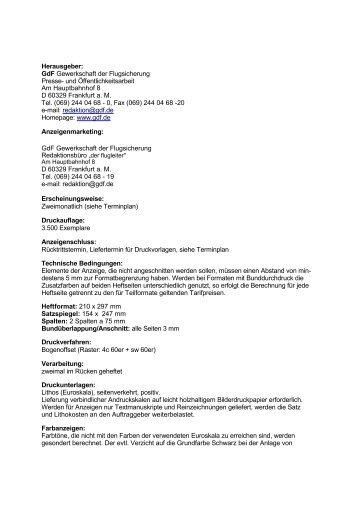 Herausgeber: GdF Gewerkschaft der Flugsicherung Presse- und ...