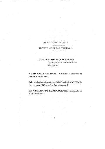 Loi no. 2006-14 Portant lutte contre le blanchiment des capitaux ...