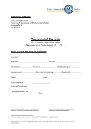 Transcript of Records - Fachbereich Geschichts - Freie Universität ...