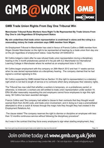 GMB Trade Union Rights From Day One Tribunal Winx