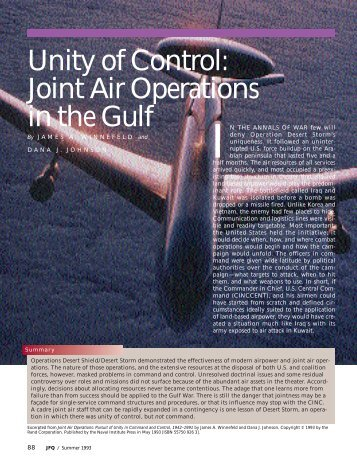 Unity of Control: Joint Air Operations in the Gulf - GlobalSecurity.org