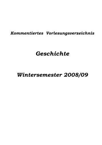 Das kommentierte Vorlesungsverzeichnis Wintersemester 2008 ...