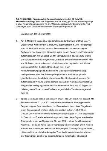 Art. 174 SchKG, Rückzug des Konkursbegehrens. Art. 33 SchKG ...