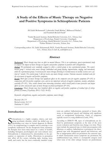 A Study of the Effects of Music Therapy on Negative and Positive ...