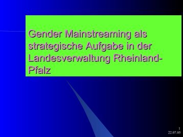 Gender Mainstreaming als strategische Aufgabe in der ...