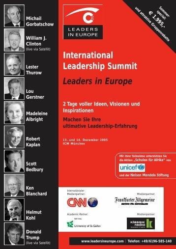 International Leadership Summit Leaders in Europe - Global Value ...