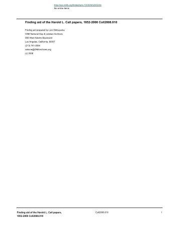 Harold L. Call papers - Calisphere