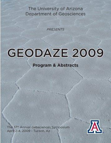 GEODAZE 2009 - Department of Geosciences - University of Arizona