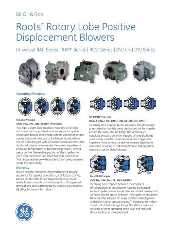 Roots* Rotary Lobe Positive Displacement Blowers - GE Energy
