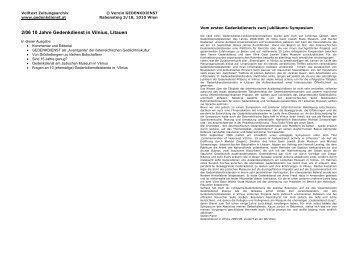 Ausgabe 2/06 - 10 Jahre Gedenkdienst in Vilnius, Litauen - Verein ...