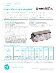 20 Watt Mini Electronic HID Ballast - GE Lighting Asia Pacific