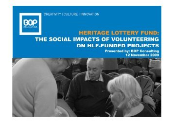 Social impacts of volunteering on HLF funded projects
