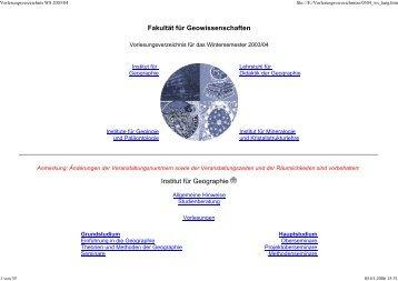 Vorlesungsverzeichnis WS 2003/04 - Geographie