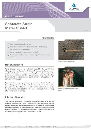 Shotcrete Strain Meter SSM-1.indd - GeoData Andina