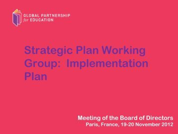 Strategic Plan Working Group: Implementation Plan - Global ...