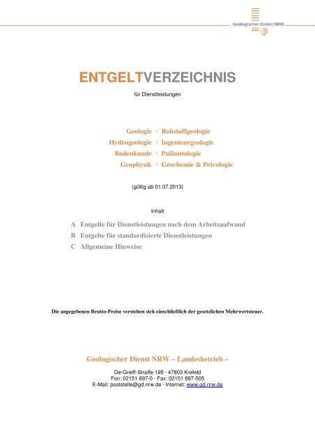 Entgeltverzeichnis - Geologischer Dienst NRW