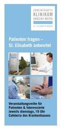 Patienten fragen – St. Elisabeth antwortet
