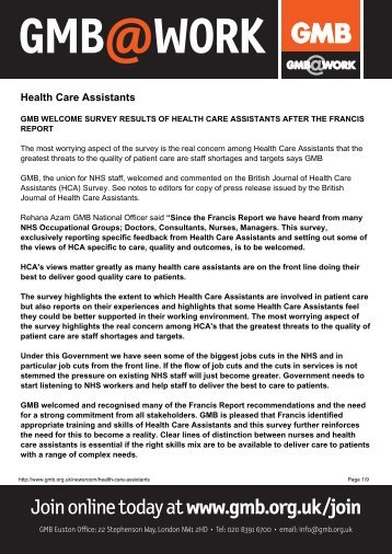 Health Care Assistants - GMB