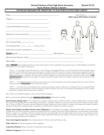 physician release form for wrestler to participate with skin lesion - Physician Release Form