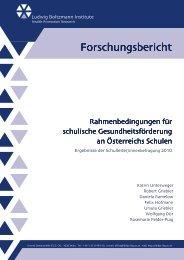 LBIHPR Rahmenbedingungen für GF an Schulen - Gesunde Schule