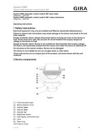1 Safety instructions 2 Device components System 2000 - Gira