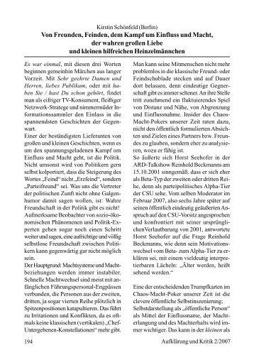 Kirstin Schönfeld Von Freunden, Feinden, dem Kampf um Einfluss ...