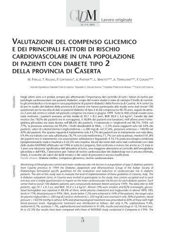 valutazione del compenso glicemico e dei principali fattori di rischio ...