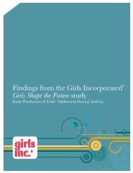 Findings from the Girls Incorporated® Girls Shape the Future study