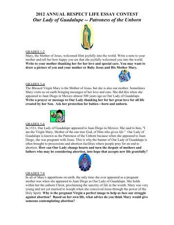 respect life essay contest 2012
