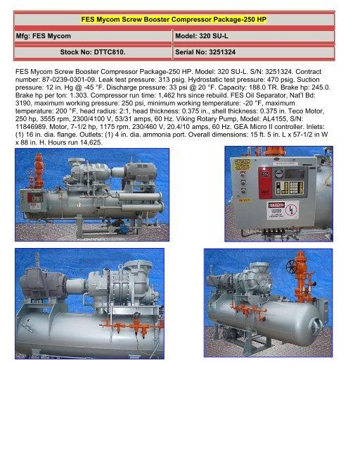 FES Mycom Screw Booster Compressor Package-250 HP Mfg: FES