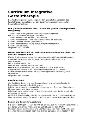 Curriculum Psychotherapieausbildung (pdf) - Integrative ...