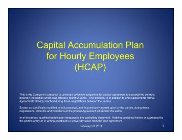 Capital Accumulation Plan for Hourly Employees (HCAP) - IAM