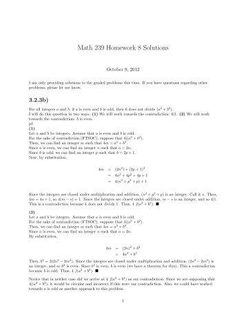 Math 239 Homework 8 Solutions