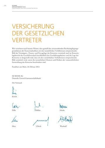 VERSICHERUNG DER GESETZLICHEN VERTRETER - DZ BANK ...
