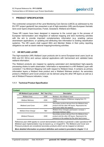 HR Wetland Layer Technical Product Specification - geoland