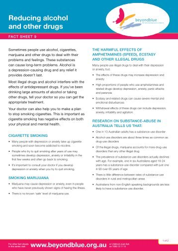 Beyond Blue – Reducing alcohol and other drugs factsheet