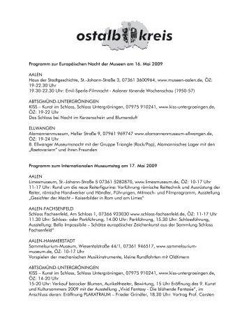Programm zur Europäischen Nacht der Museen am 16. Mai 2009 ...