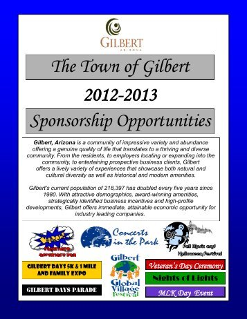 The Town of Gilbert Sponsorship Opportunities 2012-2013