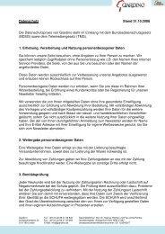Datenschutz Stand 31.10.2008 Die Datenschutzpraxis von Giardino ...