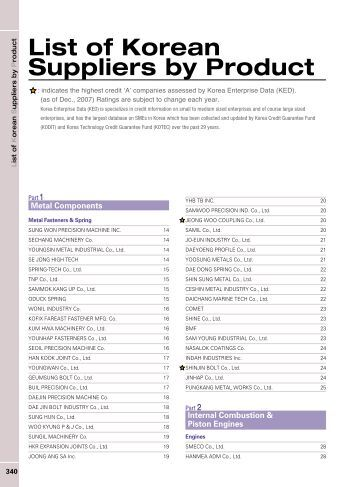 List of Korean Suppliers by Product - Gobizkorea