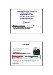 Einleitungsvortrag 4. Symposium für Lymphome und Multiples ...