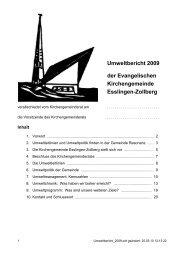 Umweltbericht 2009 der Evangelischen Kirchengemeinde Esslingen