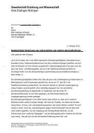 Brief an Andreas Schwarz, Grüne, Wahlkreis ... - GEW-Esslingen