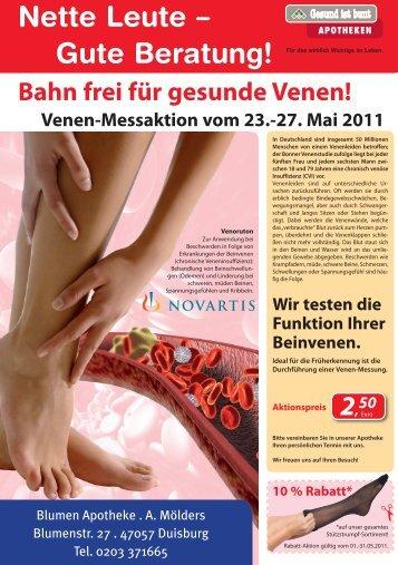 Venen-Messaktion vom 23.-27. Mai 2011 - Blumen Apotheke