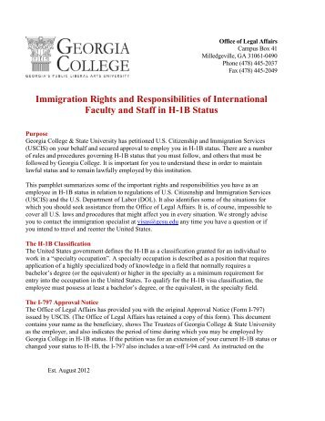 Immigration Rights and Responsibilities for H-1B holders - Georgia ...