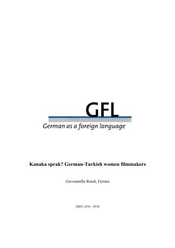 Kanaka sprak? German-Turkish women filmmakers - GFL-Journal