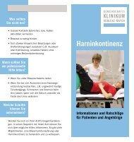 Harninkontinenz - Informationen für Patienten und Angehörige