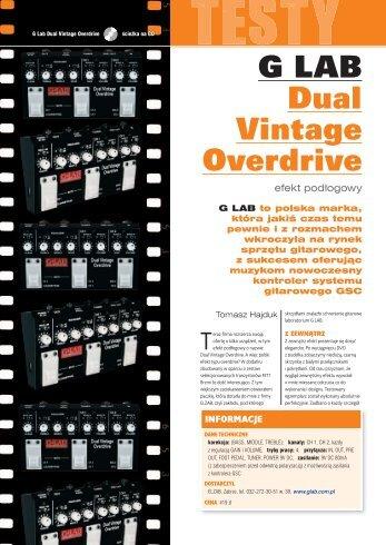 G LAB Dual Vintage Overdrive efekt podłogowy