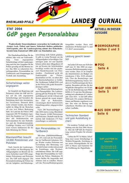 Journal Januar 2004 - gdp-deutschepolizei.de